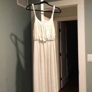LOFT white maxi dress with twisted straps